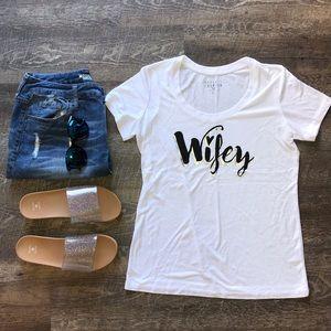 Wifey White T-Shirt with Metallic&Black Scroll XS